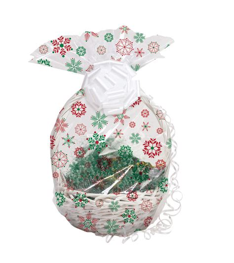 christmas red snowflakes her wrap cellophane basket