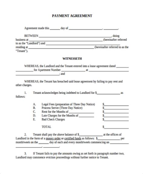 Credit Payment Agreement Template Payment Agreement Form Sles 9 Free Documents In Pdf