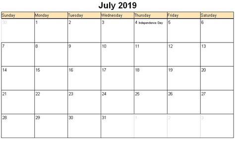 Calendar 2019 July July 2019 Printable Calendar 171 Printable Hub