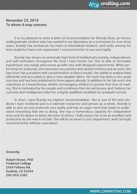 Letter Of Recommendation College Masters Program Professional Sle Letter Of Recommendation For Graduate School
