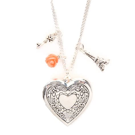 silver locket and charms pendant necklace s us