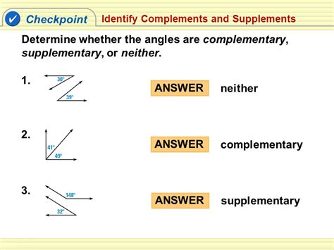 supplement geometry supplement and complement angles match problems