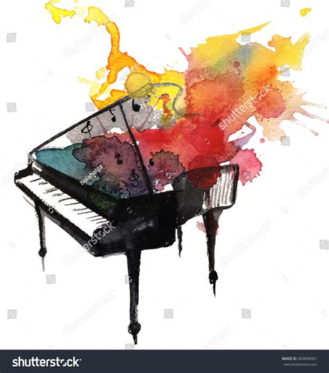 watercolor piano music stock photo 360808907 shutterstock