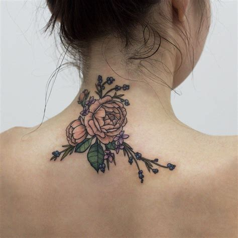flower neck tattoos flowers on the back of neck for