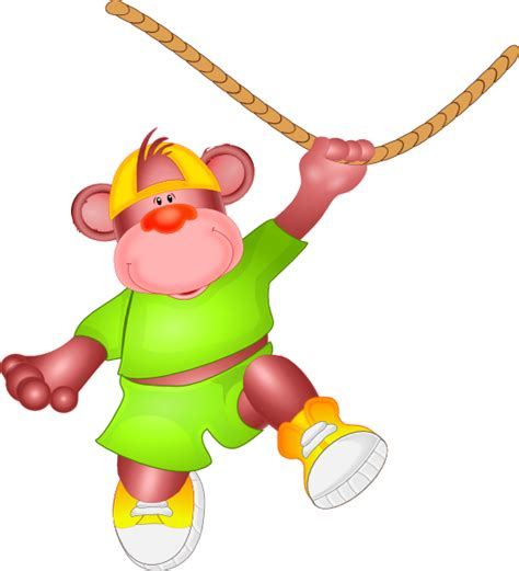 monkey jumping on rope clip at clker vector clip