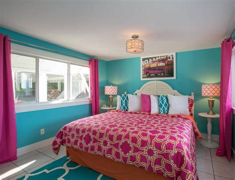 girls bedroom w aqua blue pink green with paris limefish anna maria island florida house of turquoise
