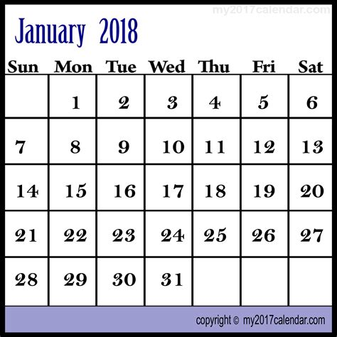 january 2018 calendar template editable january 2018 calendar editable with templates in excel format