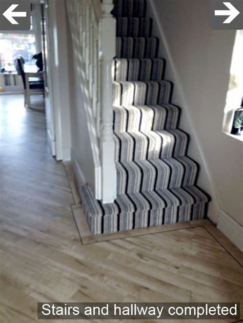 Black/Grey/White striped carpet for stairs and landing