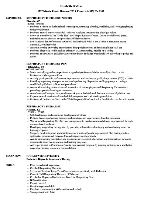 Respiratory Therapist Resume by Respiratory Therapist Resume Sles Velvet