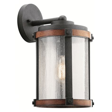 black exterior wall lights shop kichler barrington 16 in h distressed black and wood