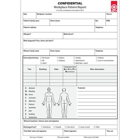 patient report form template workplace patient report forms 10 pack st