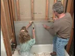 installing cement backerboard walls and floor in the