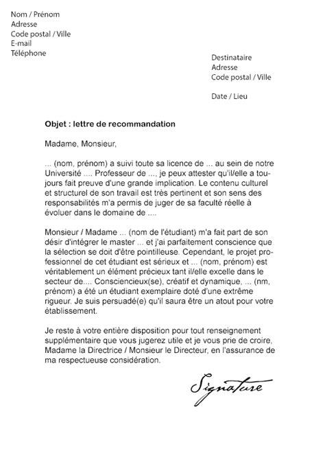 Lettre De Recommandation Alternance Lettre De Recommandation Master Mod 232 Le De Lettre