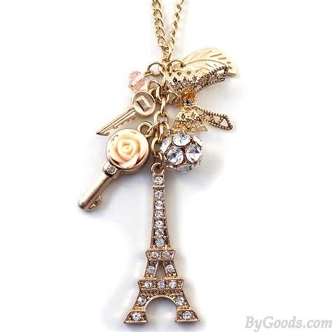 Fashion Eiffel Tower Necklace eiffel tower rhinestone sweater chain necklace