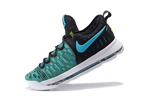 kd 9 basketball shoes blue green black white