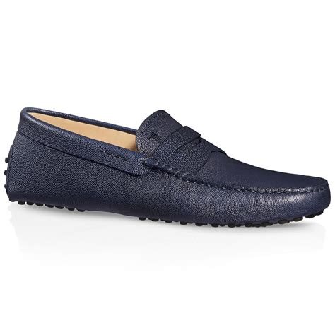 tod s gommino driving shoes in leather in blue for lyst