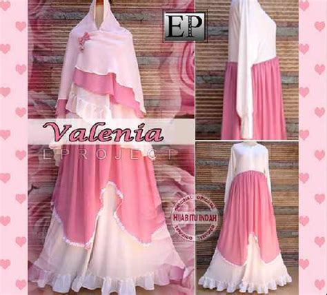 Baju Gamis Abaya Syar 39 I Bergo Pink Salemhr327 baju gamis pesta syari valenia y871 xl model busana muslim