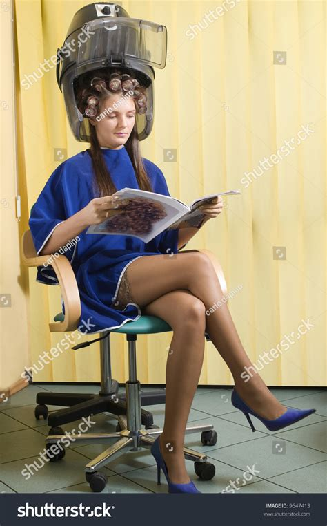 Sit Hair Dryer sitting hairdryer roller stock photo