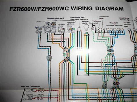 yamaha oem factory color wiring diagram schematic  fzrw fzr  wc ebay