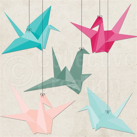 Origami Crane Clipart - paper cranes digital clip personal and by