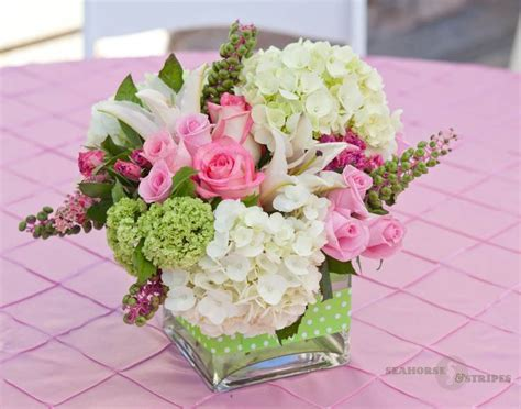 Seahorse & Stripes pink and green flower arrangements   Little Things   Pinterest   Pink roses