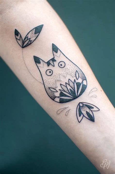 ghibli tattoo totoro design dotwork by bleunoir inked