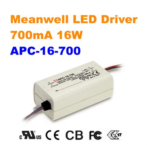 Power Supply Well Led Driver Apc 8 apc 16 700 meanwell 16w 700ma led driver ul leddepot