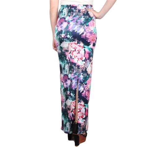 womens slip on floral pattern slit maxi length