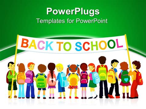 Powerpoint Template Group Of Pupils Holding A Large Colored Back To School Banner On White And School Presentation Template