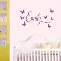 Name princess 7butterflies baby girl wall decal nursery vinyl sticker