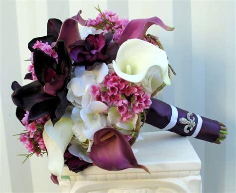 plum lavender wedding bouquet calla orchid silk