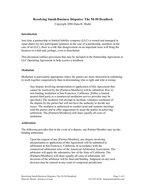 Dispute Letter To Business Partner Business Partner Agreement Business Partner Agreement Template General Partnership Agreement