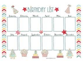 Birthday List Template By Month Free Birthday Calendar