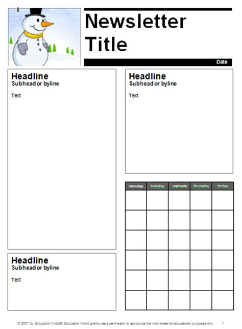 january newsletter template education world