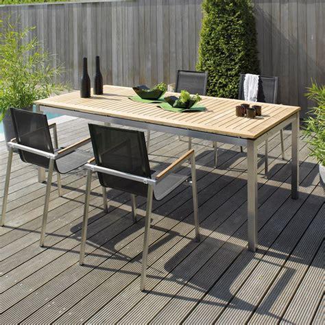 table en teck de jardin table jardin teck acier photo 19 20 table de jardin en teck et acier