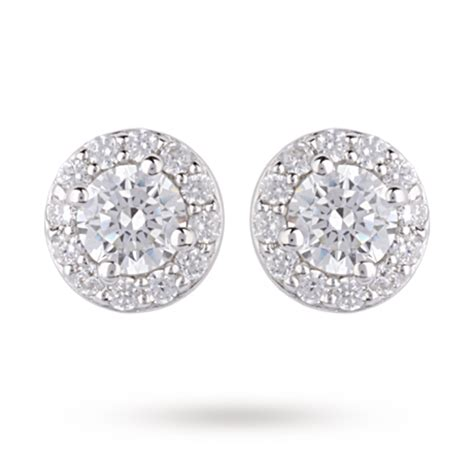 9ct white gold cubic zirconia halo stud earrings gifts