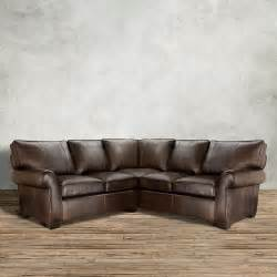 arhaus leather sofa brentwood 124 quot leather three sectional in matador