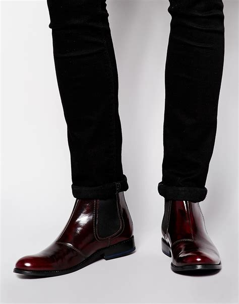 purple boots mens asos chelsea boots in leather in purple for lyst