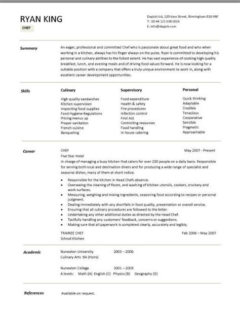 Exle Resume Cook Position Chef Resume Free Excel Templates