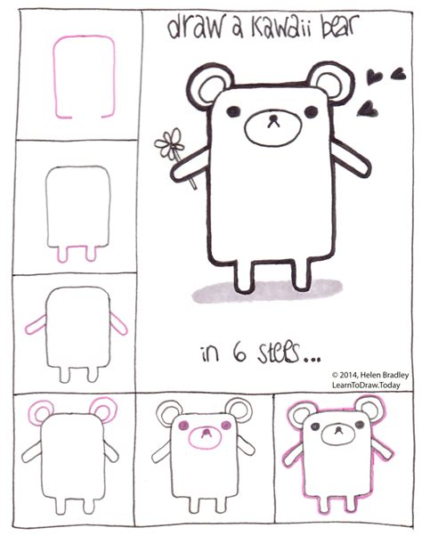 how to do doodle today draw a kawaii teddy step by step kawaii and doodles