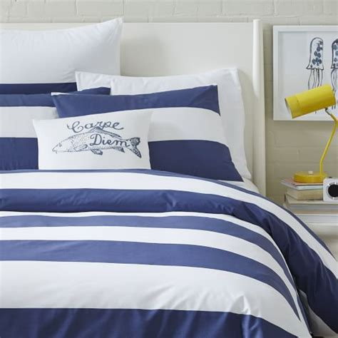 navy and white striped bedding mod stripe duvet cover white dusty navy west elm
