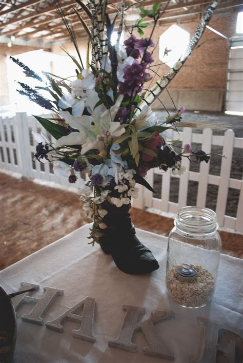 Cowboy Boot Vase Wedding Decorations by Cowboy Boot Flower Decorations 45 00 Via Etsy Great