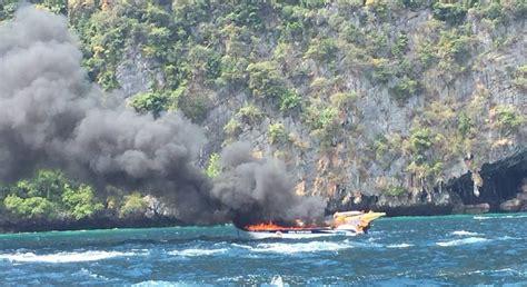 fire boat phi phi several injured as boat explodes at viking cave koh phi phi