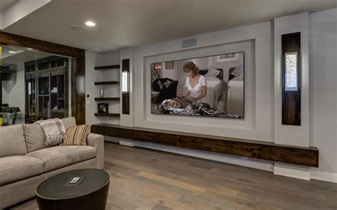 basement home theater tv wall transitional basement