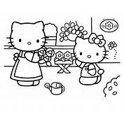 Hello Kitty With Her Mother Coloring Pages  Hellokidscom