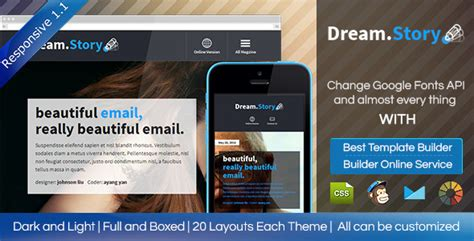 Dream Story Responsive Email Template Builder By Digith Themeforest Email Template Builder Software