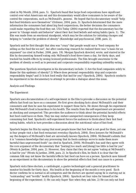 Supersize Me Essay by Supersize Me Analysis Essays Docoments Ojazlink