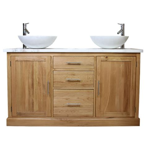 50 oak vanity unit with white marble top