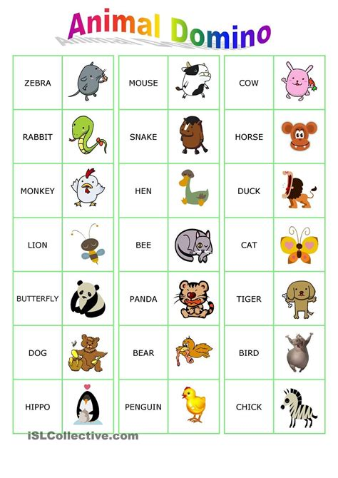 Printable Animal Dominoes | animal dominoes englanti pinterest animal english