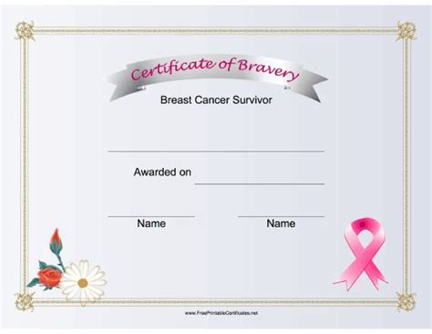 bravery certificate template 73 best images about feel your breast cancer